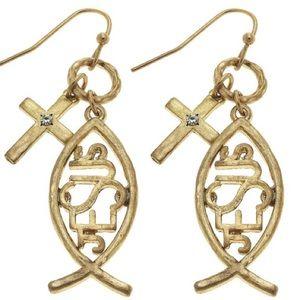 ⭐️COMING SOON⭐️Gold tone ichtys Jesus earrings